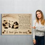 Panda I Love You The Most Canvas Print Wall Art - Matte Canvas
