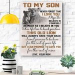 To My Son Lion Canvas Print Wall Art - Matte Canvas