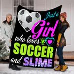 Custom Blanket Soccer and Slime Blanket - Gift for Girls - Fleece Blanket