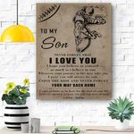 To My Son Football Canvas Print Wall Art - Matte Canvas