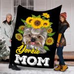 Yorkie Mom Sunflower Yorkie Dog Blanket - Gift For Mother's Day - Fleece Blanket