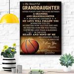 To My Beautiful Granddaughter Basketball Canvas Print Wall Art - Matte Canvas
