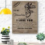 To My Grandson Football Canvas Print Wall Art - Matte Canvas