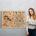 To My Only Love Sloth Canvas Print Wall Art - Matte Canvas
