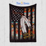 Custom Blanket American Flag Native Tribe Feather Pride - Fleece Blanket (Osawa Nimikig)