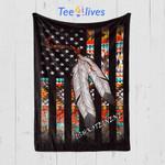 Custom Blanket American Flag Native Tribe Feather Pride - Fleece Blanket (Ishkoteinene)