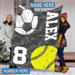 Custom Blankets Softball Soccer Personalized Blanket - Perfect Gift For Son - Fleece Blanket