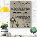 To My Daughter Custom Canvas Prints Wall Art - Perfect Gift For Daughter - Matte Canvas
