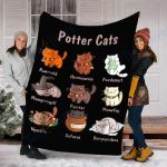 Potter Cats t-shirt, Funny Gifts For Cat Lovers Tshirt 3 - Fleece Blanket