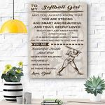 To My Soft Ball Girl Canvas Prints Wall Art - Perfect Gift For Girl - Matte Canvas