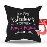 Our First Valentine Mr and Mrs Personalized Pillow - Valentines Day Gifts