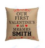 Our First Valentine Mr and Mrs Personalized Pillow - Valentines Day Gifts 1