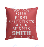 Our First Valentine Mr and Mrs Personalized Pillow - Valentines Day Gifts 5