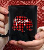 Red Plaid Papa Bear hirt Matching Pajama Family Buffalo Dad coffee mug - Black Mug