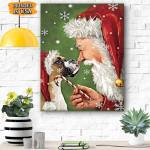 Boxer Smile with Santa Christmas Canvas Prints Wall Art - Matte Canvas