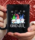 Gnome God Jul Tomte Wedish Christmas Nordic Coffee Mug - Black Mug