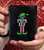 Papa Elf Matching Family Group christmas Party Pajama coffee mug - Black Mug