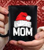 santa christmas Family Matching Pajama Mama coffee mug - Black Mug
