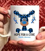Reindeer Hope For A Cure Diabetes Awareness Christmas Coffee Mug - White Mug