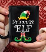 Princess Elf Funny Family Matching Elf christmas coffee mug - Black Mug