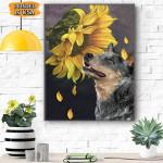 Heeler Sunflower Canvas Prints Wall Art - Matte Canvas