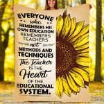Sunflower Custom Blankets - Perfect Gift For Teacher 2 - Fleece Blanket