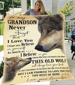 Custom Blankets To My Grandson Wolf Blanket - Gift for Grandson - Fleece Blanket