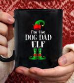 I'm The Dog Dad Elf Matching Family christmas Pajama coffee mug - Black Mug