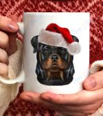 Rottweiler Dog wearing Santa Claus Hat on Christmas Coffee Mug - White Mug
