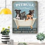 Wash Your Paws Pitbull Dog Canvas Print Wall Art - Matte Canvas