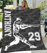 Custom Blankets Baseball Personalized Name & Number Blanket - Fleece Blanket
