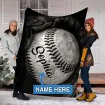 Custom Blankets BASEBALL GLOVE Personalized Blanket - Sherpa Blanket