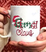 GMA Claus Christmas Santa Claus Hat -Grandma gift Raglan Baseball Coffee Mug - White Mug