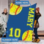 Custom Blankets Softball Personalized Blanket - Sherpa Blanket