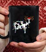 Funny Cow christmas Tee Reindeer Christmas Light Pajama coffee mug - Black Mug