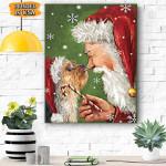 Yorkie Smile With Santa Christmas Canvas Print Wall Art - Matte Canvas