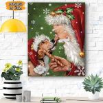 Beagle Dog With Santa Christmas Canvas Prints Wall Art - Matte Canvas