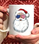 Santa Claus Patriotic USA Sunglasses Christmas in July Coffee Mug - White Mug
