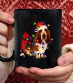 Basset Hound Christmas Coffee Mug - Black Mug