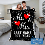Custom Blankets Mr And Mrs Personalized Blanket With Name And Wedding Year - Sherpa Blanket