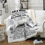 Custom Blankets Wolf Blanket - I Am A Wolf - Fleece Blanket