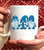 Three gnomes in blue costume Christmas - Hanging With Gnomes Coffee Mug - White Mug