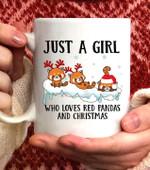Just A Girl Who Loves Red Pandas And Christmas Cute Xmas Coffee Mug - White Mug