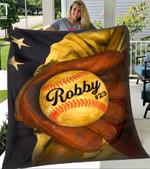 Custom Blankets Baseball Personalized Name And Number Blanket 9 - Fleece Blanket