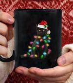 Black Cat Christmas Light Coffee Mug - Black Mug