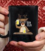 Brew Dolph Christmas Coffee Mug - Black Mug