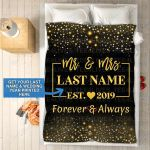 Custom Blankets Mr And Mrs Personalized Blanket With Name And Wedding Year - Fleece Blankets