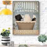 Sheepadoodle Dog Canvas Prints Wall Art - Matte Canvas