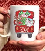 Auntie Claus Truck Christmas Coffee Mug - 11oz White Mug