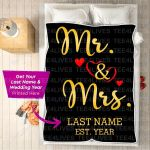 Custom Blankets - Mr And Mrs Personalized Blanket - Wedding Gifts - Fleece Blanket